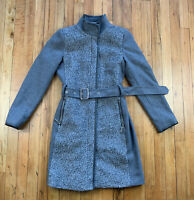 Womens S Gray Vince Camuto Boucle Front Belted Wool Blend Coat Faux Leather Long