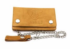 Bifold Beige Genuine Leather Atlas Design Snap Button Wallet with a Chain