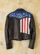 Free People Vintage Carrie Yotter Hand Painted One of Kind Leather Jacket-M