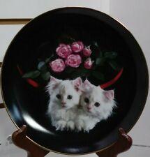 Peekaboo Plate Coming Up Roses Richard Stacks Danbury Mint White Kittens Pink
