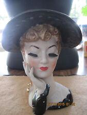Vintage Black & White Polka Dot Ceramic Lady's Head Planter/Vase...50's/60's...