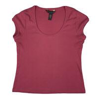 Banana Republic Women Small Cotton T-Shirt Tee Top Scoop Neck T Shirt Pink