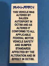 1989-1993  Ford Mustang Saleen Door Decal 87 88 89 90 91 92 93