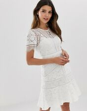 FRENCH CONNECTION WHITE CHANTE LACE MINI DRESS SIZE UK 10