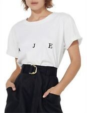 Genuine Aje Womens Bianca Tee White And Black Logo Tee Casual Tops T-shirt XS-M