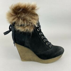 Bertie Black Leather Suede Ankle Lace Up Fur Trim Wedge Boho Hippes Boots 38 UK5