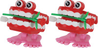2 Count Chattering Chomping Wind Up Toy Walking Teeth Dentures Eyes And Rose