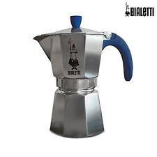 Caffettiera Moka alluminio BIALETTI 3 tazze manico e pomello blu VASSOIO OMAGGIO