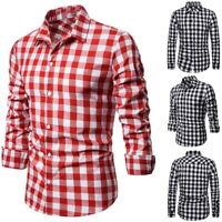 Fashion Men's Summer Casual Dress Shirt Mens Plaid Short Sleeve Shirts Tops Tee