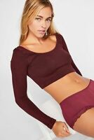 New Free People Womens Ribbed Seamless See Me Long Sleeve Crop Top Xs-L $48