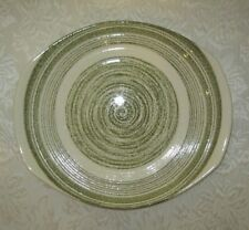 "EL VERDE Ironstone Green Spiral Handled 10"" Cake Plate ~ MINT Condition"