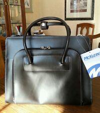 "Mcklein W Series Lake Forest 16.5""x5""x12.5""  Black, Italian leather briefcase"