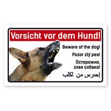 Warnschild Vorsicht Hund Schäferhund - 5-sprachig für Zaun ,Tür gegen Einbrecher