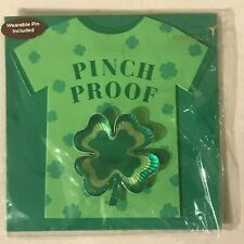 Papyrus St. Patrick's Day Greeting Card New in packaging - Pinch Proof Pin Green