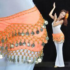 New Rows 3 Wear Dancing Coin Skirt Gold Chiffon Hip Belt Scarf Dance Belly
