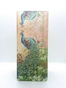 Frosted Glass Peacock Table Lamp without Base Handmade Gift Decoupage Home Decor