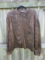 Chicos Size 3 Top Crinkle Shirt Blouse Tunic XL Button Down Brown Animal Print