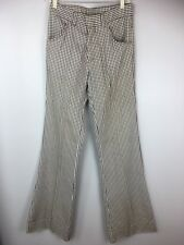 Vintage 1970's Men's Bell Bottom Slacks Pants Brown Plaid Flare Hipster 70s