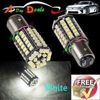 2 x Super Bright BAY15D 1157 White Tail Stop Brake Light 80 SMD LED Bulbs 2357A