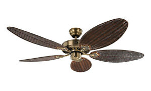 """Ceiling fan with pull cord Classic Royal antique brass rattan blades 132 cm 52"""""""
