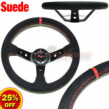 Deep Dish SUEDE LEATHER 6 Bolt 3 Spoke Racing Steering Wheel RED Stitches BLACK