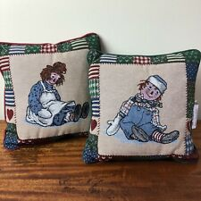 Raggedy Ann & Andy Country Christmas 13x13 Tapestry Throw Pillow Pair