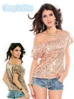 Women Deluxe Sparkling Sequin Off-Shoulder Cocktail Party Club Top Size 8-14 AU