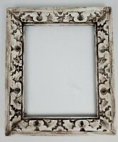 """Vintage Brutalist Picture Frame Carved Abstract Painted 14.5"""" x 17.25"""""""