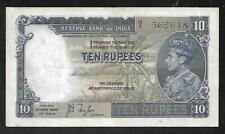 INDIA - Old 10 Rupees Note (1937)  P19a - VF/XF