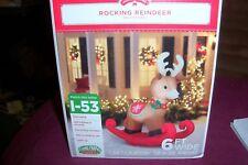 ROCKING REINDEER 6 FT WIDE CHRISTMAS AIRBLOWN  INFLATABLE YARD DECOR NIB