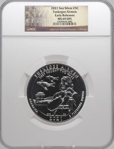 2021 5oz SILVER 25C Tuskegee Airmen NGC MS 69DPL Early Releases must see!