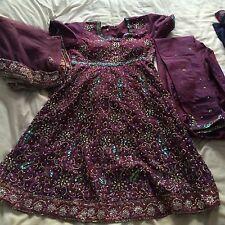 Indian Asian Purple dress Churidar Suit Kameez
