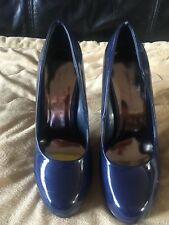 """Ladies """"Dorothy Perkins"""" Navy Blue Court Shoes Size 5/38 Worn Patent Type Materi"""