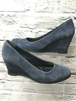 Ladies Navy Suede Leather Wedge Heeled Soleflex Shoes Size 6