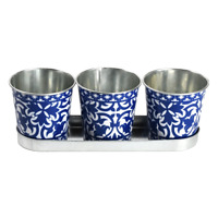 3 x Portuguese Esschert Garden Herb Flower Zinc Blue Planter Pots Tubs On Tray