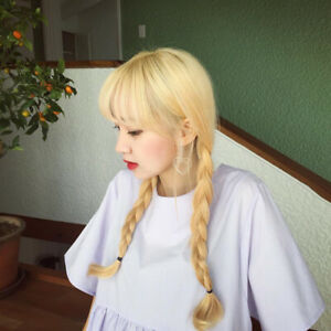 Korean Double Long Braided Ponytail Wig w/ Bangs Blonde Anime Lolita Cosplay A1