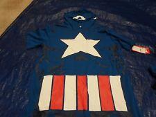 Marvel Captain America Halloween Costume T-Shirt w/ Hood & Velcro Shield MEDIUM