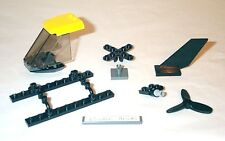 Lego Helicopter Kit: Windscreen, Roof, Rotor, Tail, Sled Rails 8636 Yellow/Black