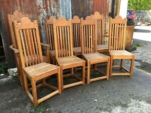Set Of 8 Solid Oak Arts And Crafts Style High Back Dining Chairs