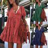 ❤️Women Summer Short Sleeve Smock Dress Ladies Beach Casual Loose Shirt Sundress