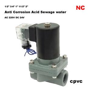 "1/2"" 3/4"" 1"" - 2""CPVC Anti Corrosion Acid Sewage Water Solenoid Valve NC 24/220V"