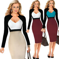 Women Lady Elegant Colorblock Work Business Office Party Bodycon Pencil Dresses