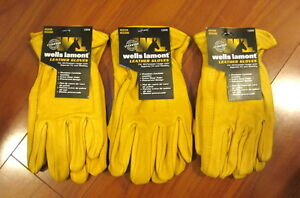 Lot of 3 Wells Lamont Heavy Duty Leather Work Gloves Premium Cowhide - All Size