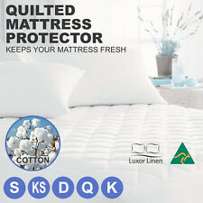 Aus Made Fitted Cotton Cover Quilted Mattress Protector Topper Underlay ALL SIZE