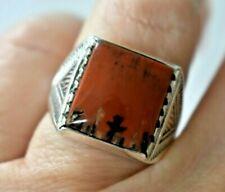 Vintage Harvey PNY Navajo Petrified Wood Agate Sterling Silver 9 Mens Biker Ring