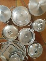 Hammered Aluminum Lot Forged Hand Wrought Tray Bowls Lids Ice Bucket 15 Pieces