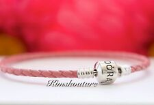 Pandora Pink Single Strand Leather Woven Cord Charm Bracelet 6.9 , 7.5 , 8.1 inc
