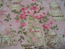 "1 YARD ""ROSE GARDEN TEA"" MATERIAL by RO GREGG  COTTON Crafts Sewing Cottage Chic"