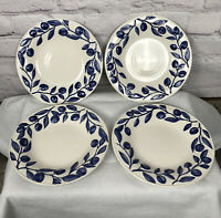 "Harry And David Barbara Eigen Blueberry Leaves Set Of 4 Salad Plates 9"" Across"