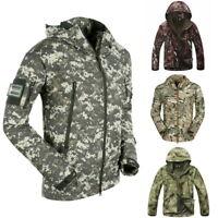 Mens CasualTactical Jacket Waterproof Shark Camouflage Hooded Coat Outwear